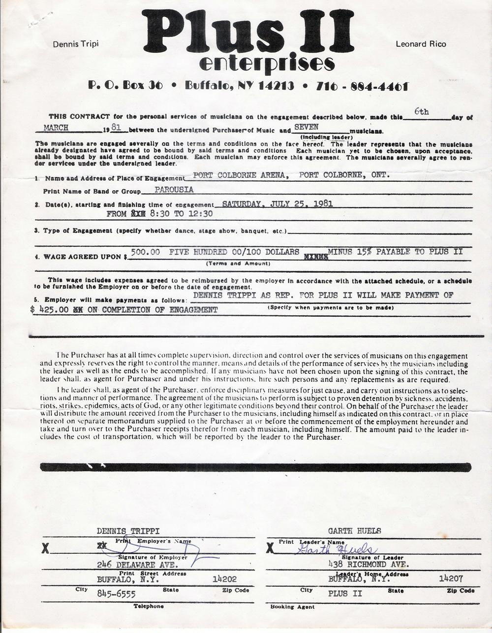 Plus II contract - Original Contract Garth Huels March 1981