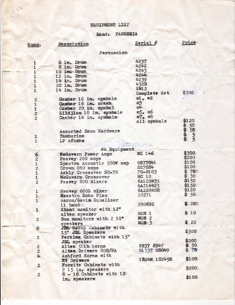 Port Colborne Equipment list