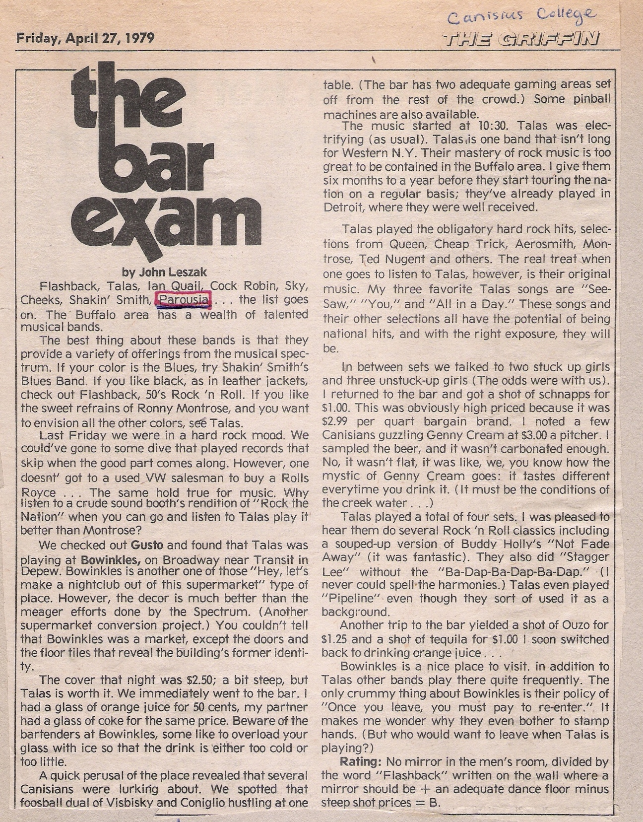 Review- Canisius College, 'The Griffin' Friday April 27, 1979
