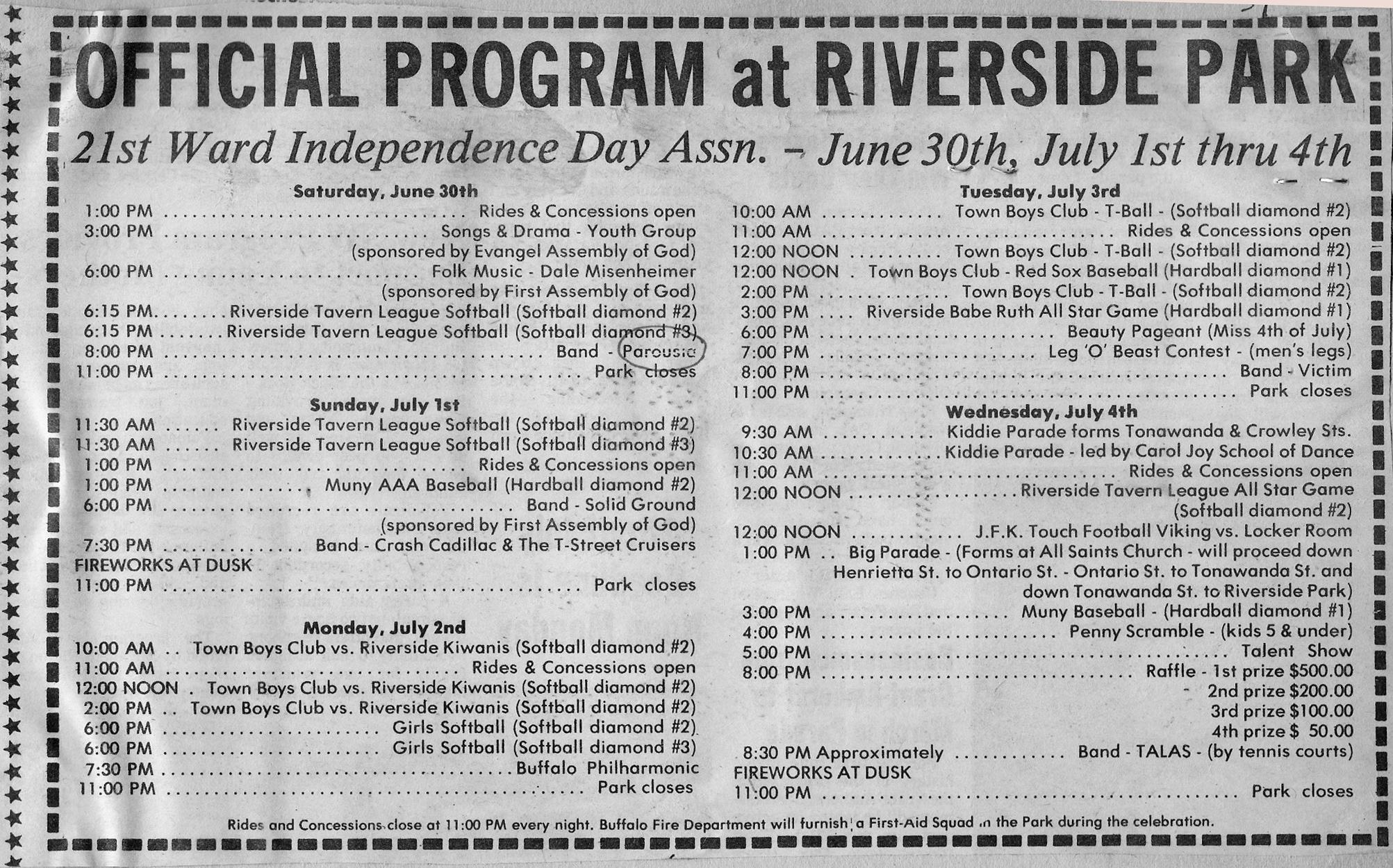 1984 Official 4th of July Program - Riverside Review