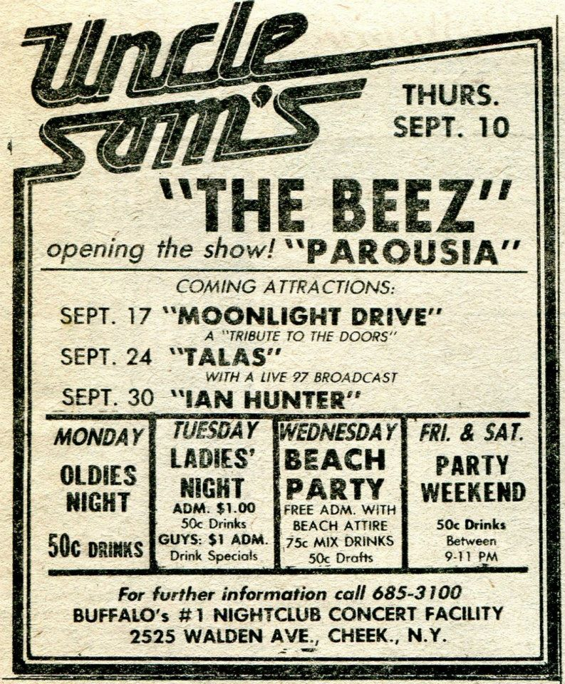 News Clipping Announcing The Beez and Parousia Sept 10th 1981