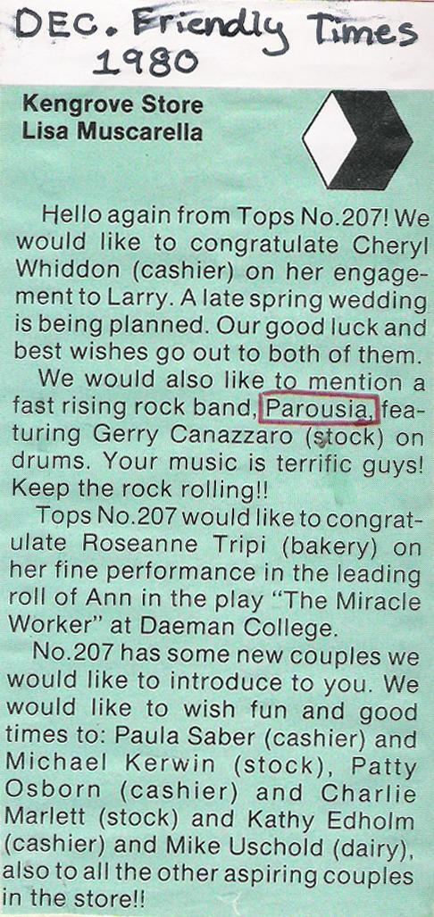 Tops newsletter featuring Parousia - Dec 1980
