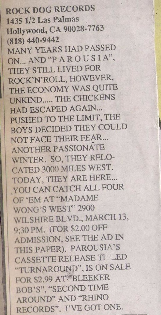 'Turnaround' EP review published in UCLA's Daily Bruin March 4th 1988 (1)