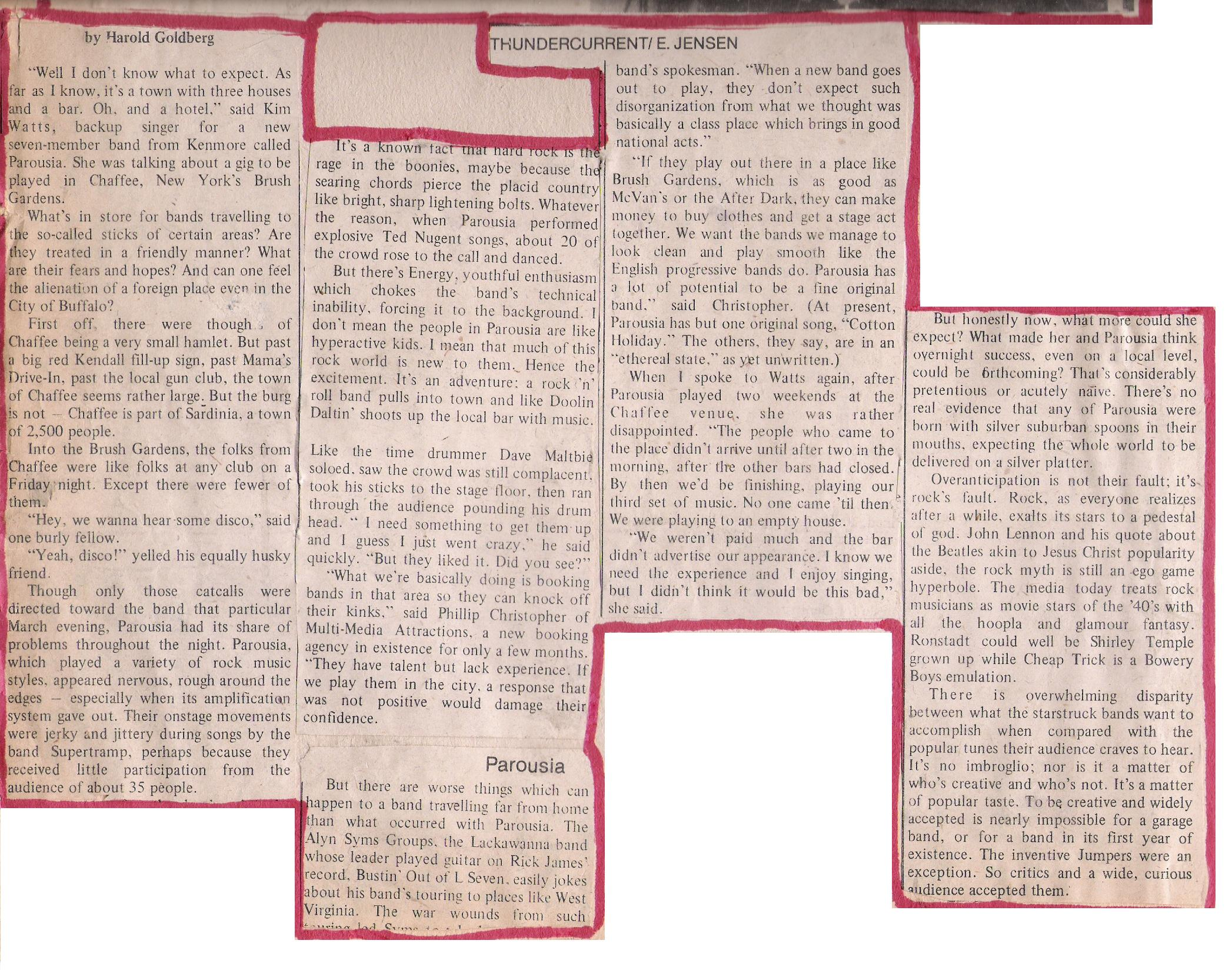 'Worlds Thunder Current', Sept. 4th 1979. Review of Brush Garden's performances March '9 (bottom)