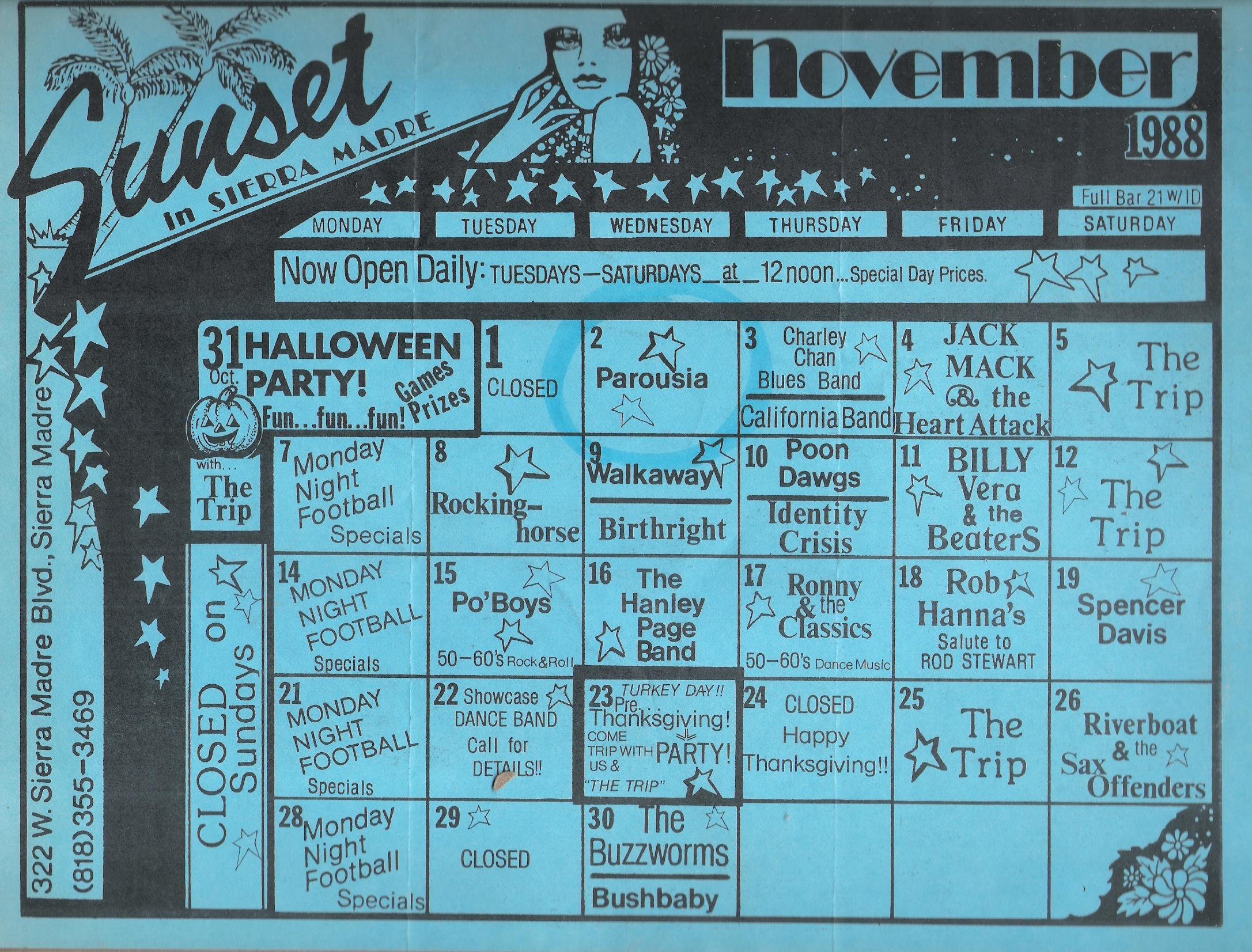 Parousia At The Sunset Club, November 2, 1988 - Parousia Buff
